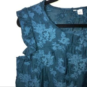 🍁Teal Blue Ruffle Floral Blouse Top size M A14